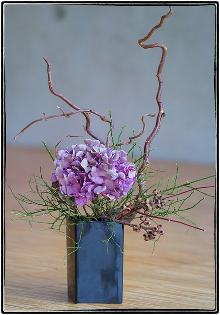 Ikebana, Flower, Violet, Beauty, Nature, Art, Growth