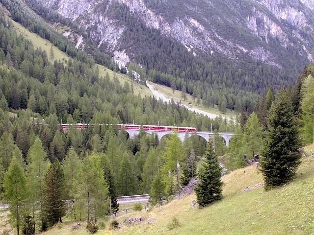Bernina, Bridge, Viaduct, Trees, Autumn, Nature