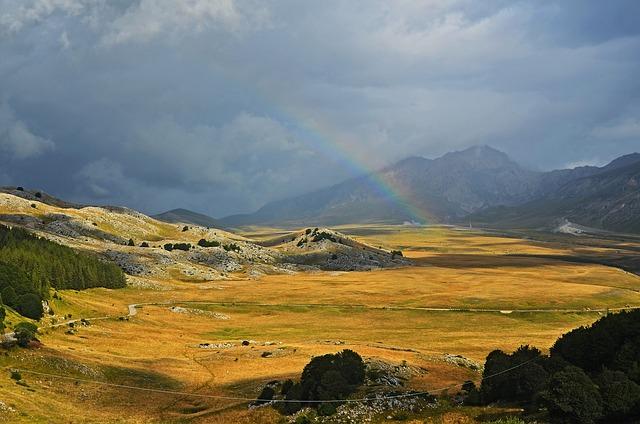 Nature, Field, Rainbow, Italy, Campo Imperatore