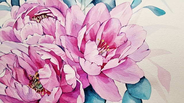 Art, Painting, Flowers, Peonies, Pink, Nature