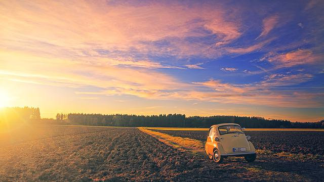Sunset, Bmw, Isetta, Dawn, Panorama, Nature, Dusk, Sky