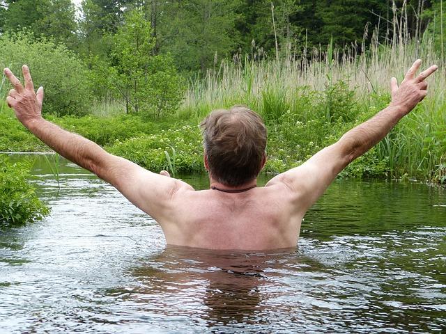 Bach, River, Man, Human, Swim, Water, Nature, Meadow