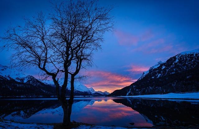 Engadin, Lake Silvaplana, Winter, Night, Nature