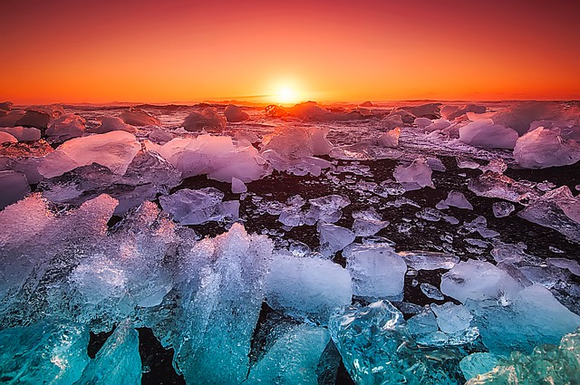 Iceland, Sea, Ocean, Ice, Icy, Chunks, Nature, Outdoors