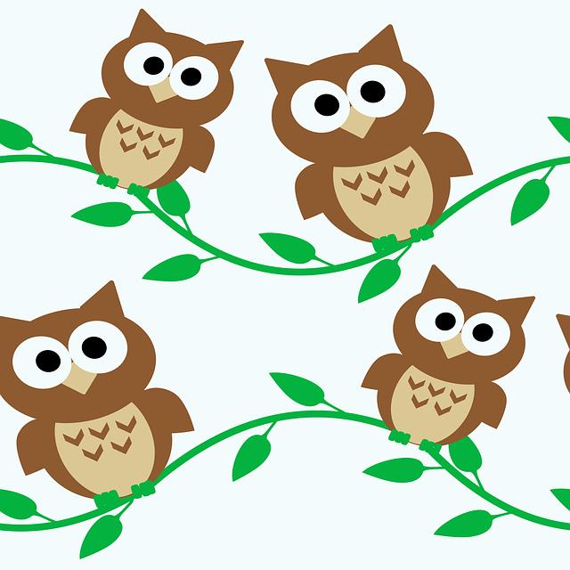 Owl, Owls, Cartoon, Animal, Nature, Wise, Bird, Pattern