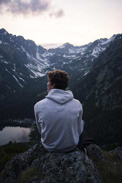 Alone, Lake, Man, Mountain, Nature, Person, Solo