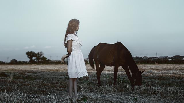 Horse, Girl, Dress, Sundress, Nature, Photoshoot, Hair