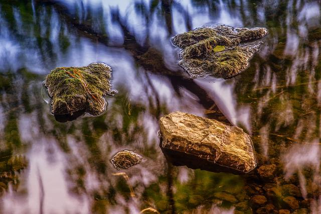 Nature, Stones, Water, Mirroring, Reflection, Quiet
