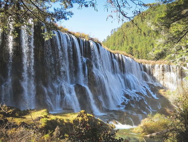 Waterfalls, River, Grass, Trees, Green, Nature, Rocks