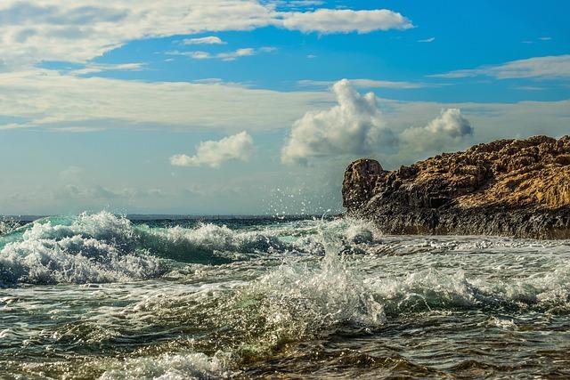 Rocky Coast, Waves, Sea, Nature, Water, Sky, Clouds