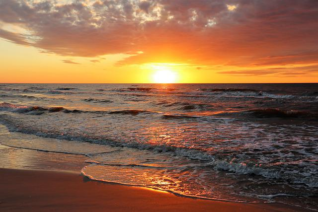 Sea, West, The Sun, Clouds, Water, Seascape, Nature