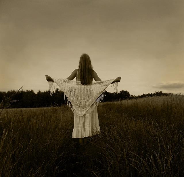 Twilight, Sepia, Nature, Pole, Girl, Shawl, Meadow