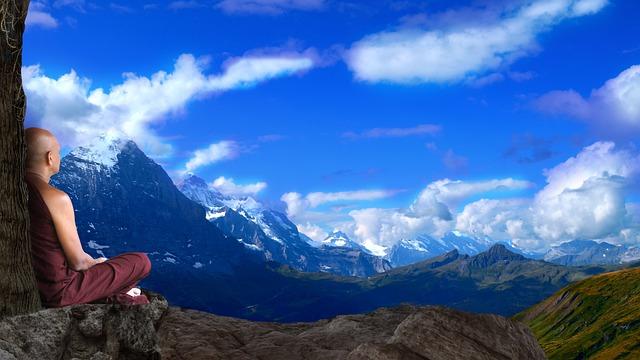 Mountain, Panoramic, Nature, Sky, Travel, Monk, Bhikkhu