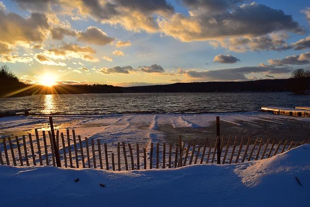 Lake, Sunset, Beach, Snow, Coast, Water, Nature, Sky