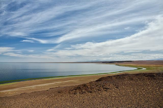 Lake, Mongolia, Steppe, Desert, Clouds, Sky, Nature