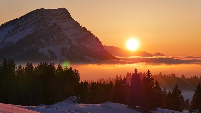 Sunset, Snow, Mountain, Evening, Nature, Fog, Twilight