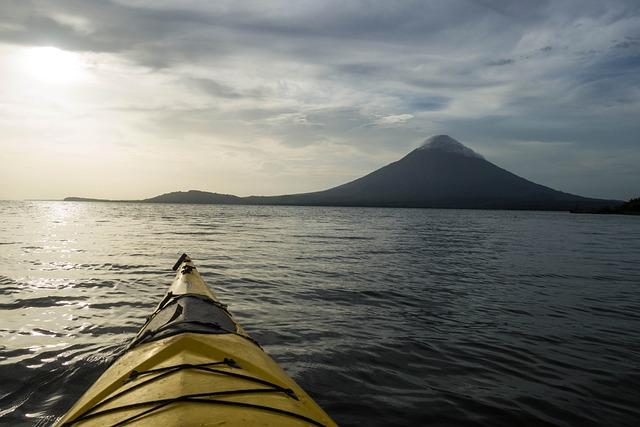 Kayaking, Nicaragua, Sunset, Lake, Waves, Nature