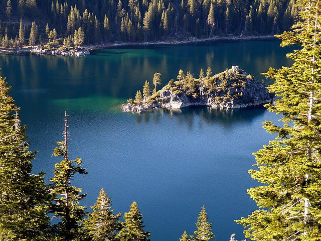 Lake, Tahoe, Island, Water, Nature, Trees