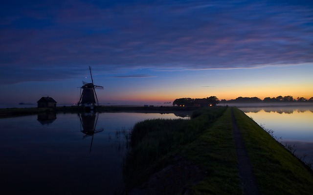 Pond, Windmill, Texel, Netherlands, Night, Nature