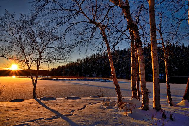 Sunset, Winter Landscape, Twilight, Nature, Colors