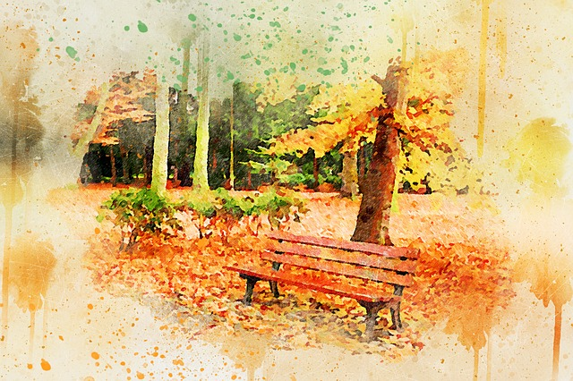 Tree, Park, Bench, Art, Abstract, Nature, Watercolor