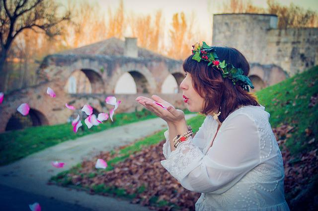 Outside, Good Looking, Nature, Woman, Flower, Crown