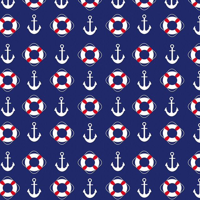 Nautical Paper, Anchors, Stripes, Digital Paper