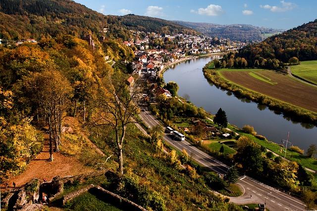 Neckarsteinach, Valley, Neckar, River, Autumn, Germany