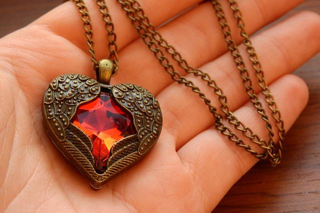 Necklace With Winged Heart, Heart In Hand, Winged Heart