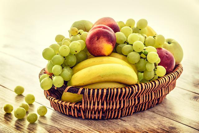 Fruit Basket, Bananas, Grapes, Apples, Nectarines