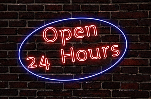 Neon, Neon Sign, The Text Of The, Open, 24 Hours, Lamp