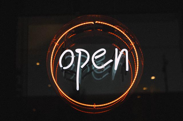Open, Illuminated, Light, Neon Light, Sign, Entry