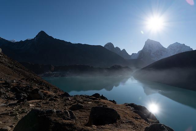 Nepal, Lake, Gokyo, Reflection, Sun, Mountain, Water