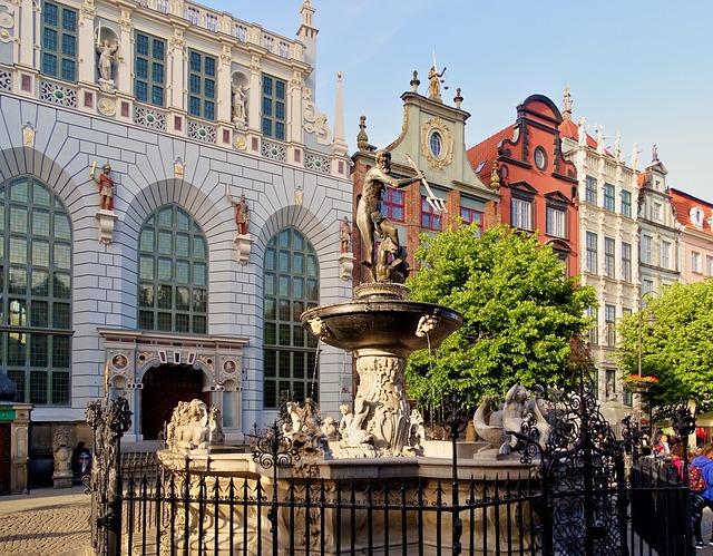 Poland, Gdansk, Artus Court, Neptunbrunnen