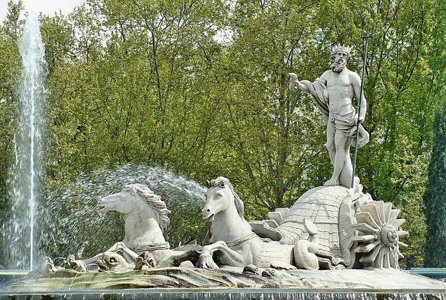 Madrid, Spain, Neptune, Source, Statue, Monument, Trim