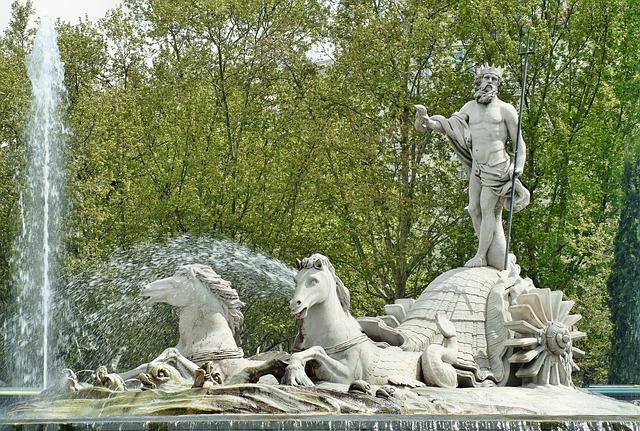 Madrid, Spain, Neptune, Source, Statue, Monument, Trim