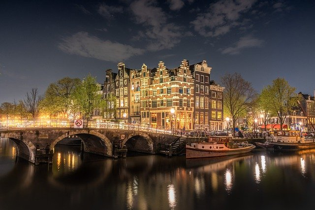 Bridge, River, Architecture, Amsterdam, Netherlands