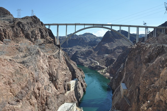 Hoover Dam, Nevada, Arizona, Mountains, Building