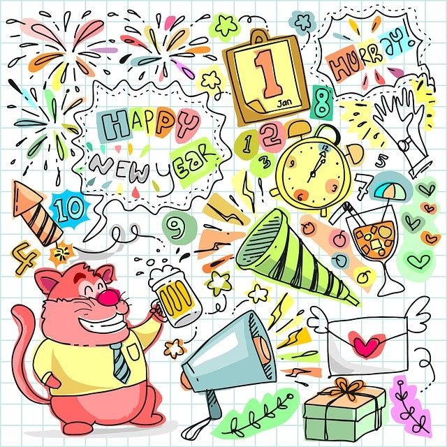 Doodle, New, Year, Party, Celebration, Happy, Drawing
