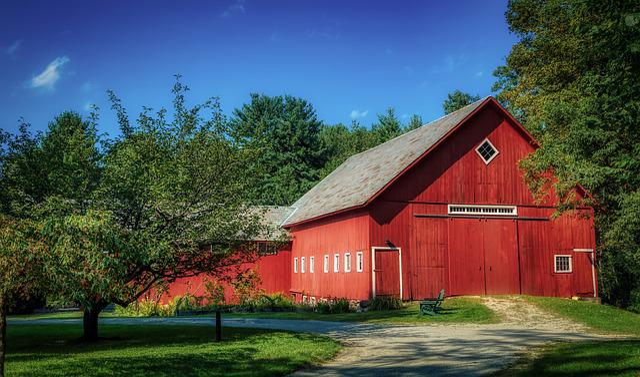 Vermont, New England, America, Red Barn, Farm