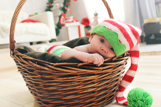 Baby, Gnome, New Year's Eve, Basket
