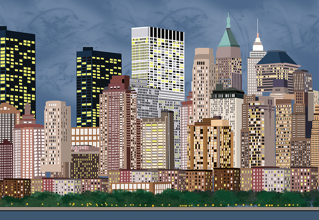 City, Illustration, New York, Landscape, Place