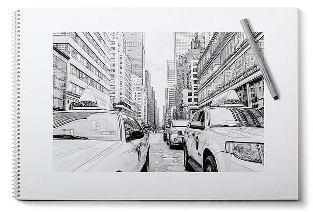 New York, Painting, Pencil, Sketch, Plan, Taxi