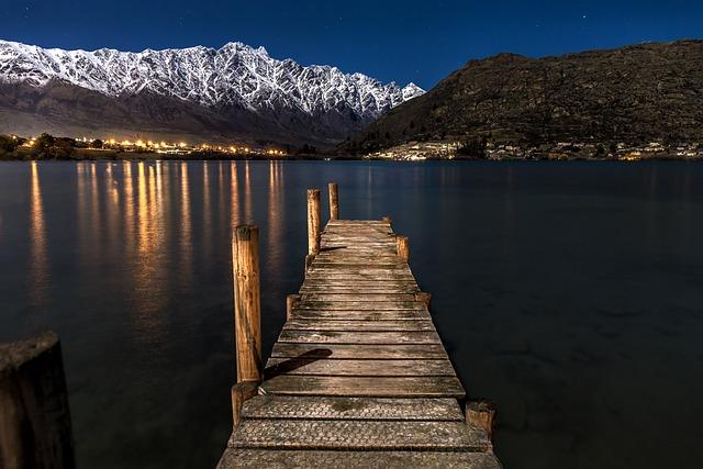 New Zealand, Night, Stars, Moon, Lights, Tourism, Sea