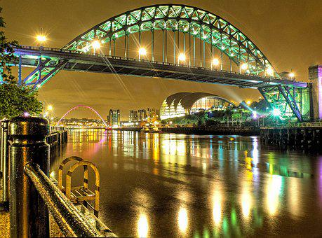 Newcastle, Night, Lights, Reflection, Gateshead, Bridge