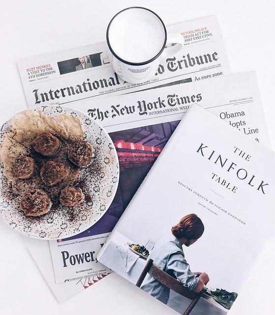 Table, Food, Book, Newspaper, News, Coffee, Plate