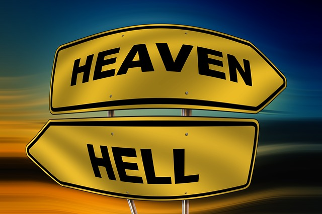 Sky, Hell, Road Sign, Direction, Right, Next, Faith