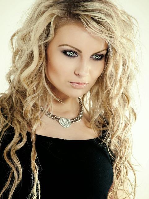 Portrait, Studio, Girl, Nice, Grey, White, Black, Blond