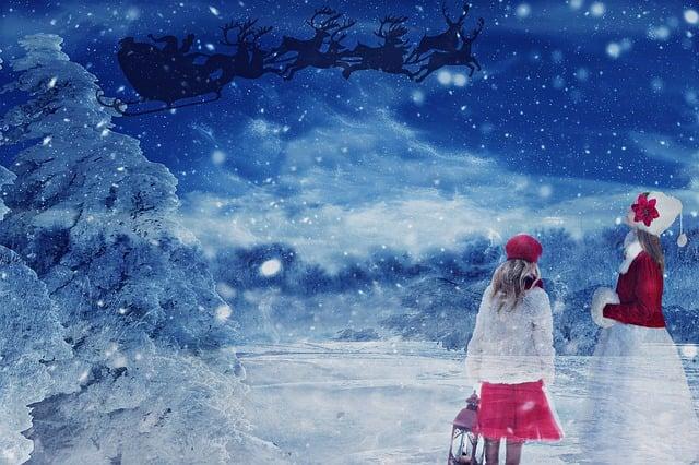 Christmas, Santa Claus, Nicholas, Reindeer Sleigh, Snow