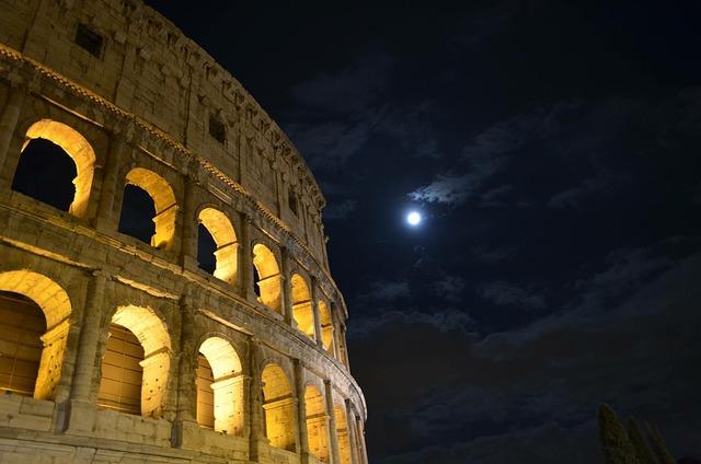 Luna, Colosseum, Rome, Night, Ancient Rome, Culture